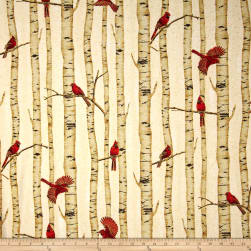 Woodsy Winter Metallic Cardinals in Trees Natural/Gold