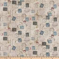 Tim Holtz Foundations Correspondencce Taupe Fabric
