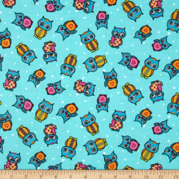 Flannel Owls & Dots Aqua Fabric