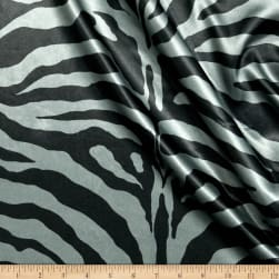 Charmeuse Satin Zebra Silver Fabric