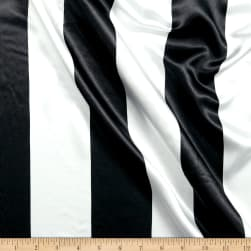 Charmeuse Satin 3.5 Stripe White/Black Fabric
