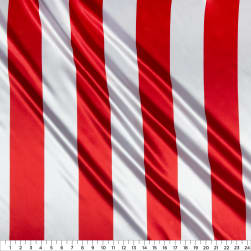Charmeuse Satin 3.5 Stripe White/Red Fabric