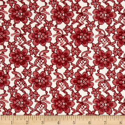 Raschelle Lace Burgundy Fabric