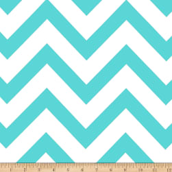 Mi Amor Duchess Satin Chevron Light Aqua/White