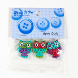 Dress It Up Embellishment Buttons Retro Owls