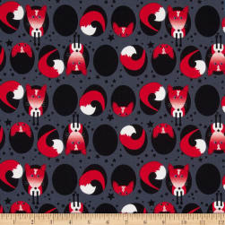 Kanvas Feeling Foxy Fox Hole Charcoal Fabric