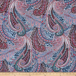 Telio Rayon Voile Abstract Light Blue/Red/Multi Fabric
