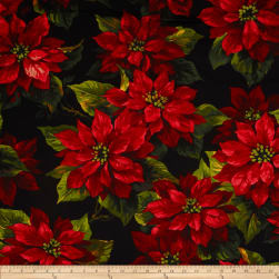 Michael Miller Scarlet Poinsetta Black Fabric