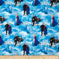 Disney Frozen Characters Scenic Blue Fabric