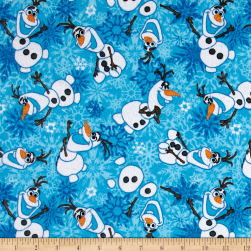 Disney Frozen Flannel Olaf Winter Snowflakes Blue Fabric