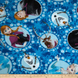 Disney Frozen Fleece Multi-Character Framed Blue Fabric