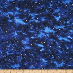Stargazers Sky Navy Metallic Fabric