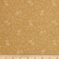 "108"" Wide Tonal Florals & Swirls Quilt Back Tan"
