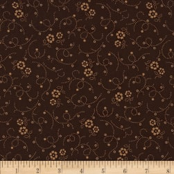 "108"" Wide Tonal Florals & Swirls Quilt Back Brown"