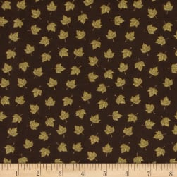 Harvest Bounty Small Leaves Dark Brown Fabric