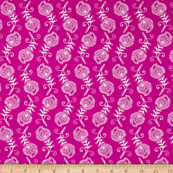 Contempo Feathers Fushsia/White