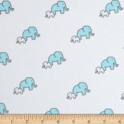 Little Safari Flannel Elephants Aqua