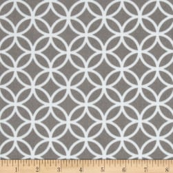 Cozy Cotton Flannel Circle Plaid Grey Fabric