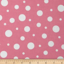 Cozy Cotton Flannel Dots Pink/White Fabric