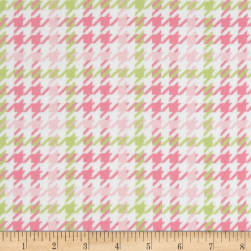 Cozy Cotton Flannel Houndstooth Pink Fabric