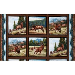 North American Wildlife Elk Panel Earth Fabric