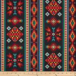 Tucson Beaded Stripe Black Fabric