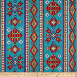 Tucson Beaded Stripe Turquoise Fabric