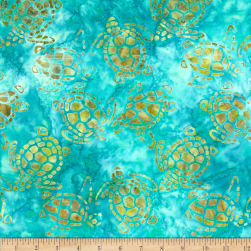 Michael Miller Batik Sea Turtles Aqua