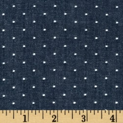 Kaufman Cotton Chambray Dots Indigo Fabric