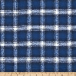 Kaufman Mammoth Flannel Plaid Cobalt Fabric
