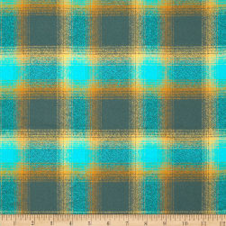 Kaufman Mammoth Flannel Plaid Lagoon Fabric