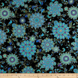 Timeless Treasures Dynasty Metallic Medallion Floral Black Fabric