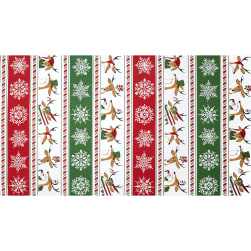 Where's Rudolph? Reindeer Stripe Red/Green Panel Fabric