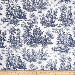 Waverly Rustic Life Toile Navy Fabric
