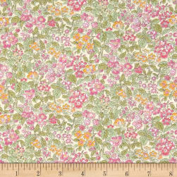 Liberty Fabrics Tana Lawn Prince George Green/Pink/Orange Fabric