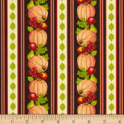 Harvest Bounty Repeating Stripe Pumpkin Fabric