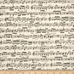Timeless Treasures Sheet Music Cream Fabric