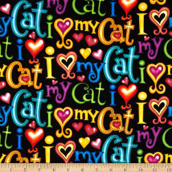 Timeless Treasures I Love My Cat Words Black