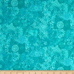 Packed Floral Batik Turquoise Fabric