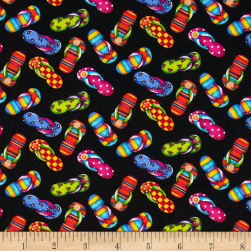 Timeless Treasures Flip Flops Black Fabric