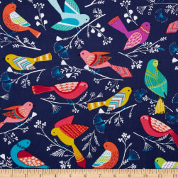Michael Miller Flock Birds Navy
