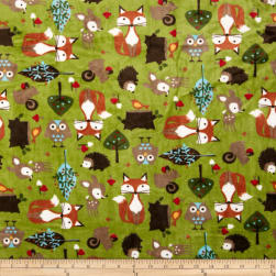 Shannon Minky Cuddle Forest Tails Kiwi Fabric