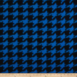 Whisper Coral Fleece Houndstooth Blue Fabric
