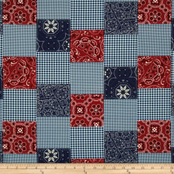 Michael Miller Bandana Patchwork Red Fabric