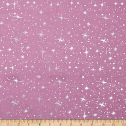 Ice Organza Silver Star Fuchsia Fabric