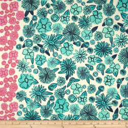 Cotton + Steel Lawn Hatbox Palm Springs Floral Teal Fabric
