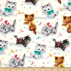 Michael Miller Kitties Cream Fabric