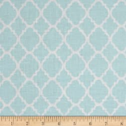 Quatrefoil Baby Blue/White Fabric