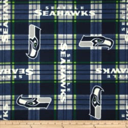 NFL Fleece Seattle Seahawks Plaid Fabric
