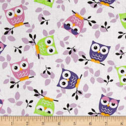 Tossed Owls White/Purple/Lime Fabric